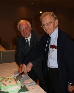 Dick Fields and Br. Michael Heffernan cut the jubilee cake