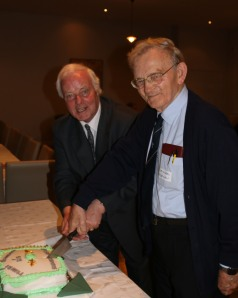 Dick Fields and Br. Michael Heffernan cut the jubilee cake