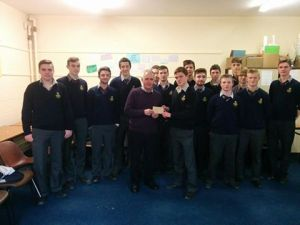 Presentation of €1000 cheque by members of Midleton CBS SERV to 'My Place' Youh Project. Eoghan Wilkinson presented the cheque to Mr. Denis Ring (former Principal Midleton CBS)
